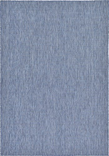 Unique Loom Outdoor Solid Collection Casual Transitional Indoor and Outdoor Flatweave Blue  Area Rug (7' 0 x 10' 0)