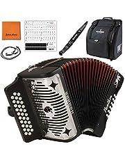 Hohner Panther G/C/F 3-Row Diatonic Accordion 3100GB - Black Bundle with Hohner Strap, Mini Harmonica, Juliet Music Case, Polish Cloth & Piano Key Stickers