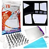 Cake Decorating Kit - w/ Stainless Steel Icing Tips (42) + Scraper / Smoother / Comb (6) + Cake Lifter Tray + Pastry Frosting Bags w/ Couplers (2) + Flower Nails (2)