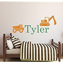 Wall Decal Letters Personalized Truck Name Wall Decal - Boys Name Wall Decal - Construction Wall Decals - Kids Room Decor Vinyl (34Wh)for Living Room