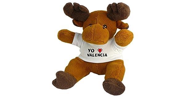 Reno de peluche (Rudolf) con Amo Valencia en la camiseta (ciudad / asentamiento): Amazon.es: Juguetes y juegos