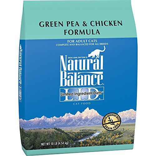 Natural Balance L.I.D. Limited Ingredient Diets Dry Cat Food, Grain Free, Green Pea & Chicken Formula, 10-Pound