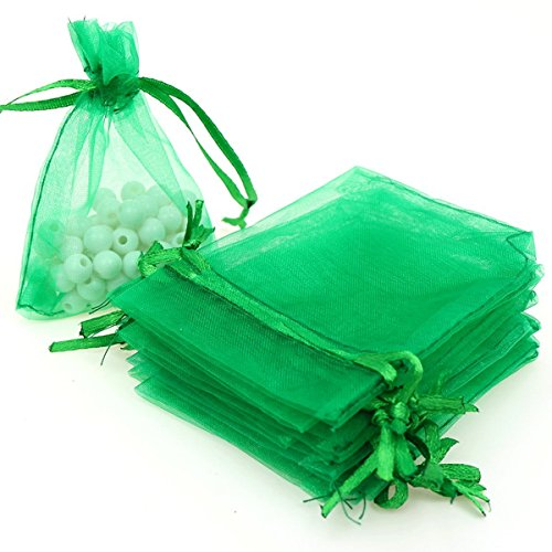 Green Organza Favor Bags (Dealglad 100pcs Drawstring Organza Jewelry Candy Pouch Party Wedding Favor Gift Bags (3x4