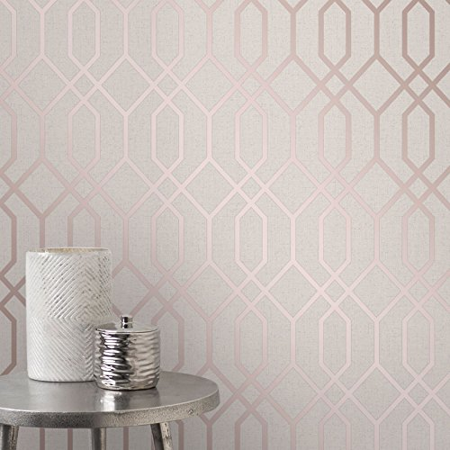 Quartz Trellis Geometric Wallpaper Beige and Rose Gold Fine Decor FD42306 ()
