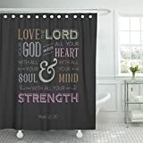 Breezat Shower Curtain Jesus of Bible Quote Use As Love the Lord Your God with All Heart From Mark Catholic Waterproof Polyester Fabric 60 x 72 Inches Set with Hooks
