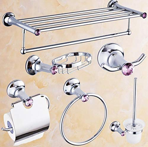 バスルーム用品トイレ/浴室ヨーロッパ高風呂バスハードウェアセットバイオレットダイヤモンド&シルバーブラスバスルームアクセサリーセットタオルバー/バスルームシェルフ、M (色 : M) B07PYPFKQL M