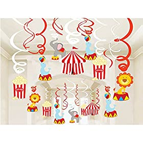 30Ct Circus Hanging Swirl Decorations -Circus Carn...