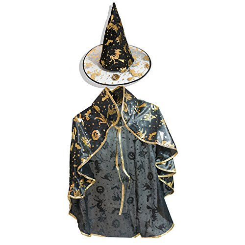 SUMMEE Halloween Costumes Witch Wizard Cloak With Hat For Toddlers Kids Girls Boys Christmas Gift Black Gold -