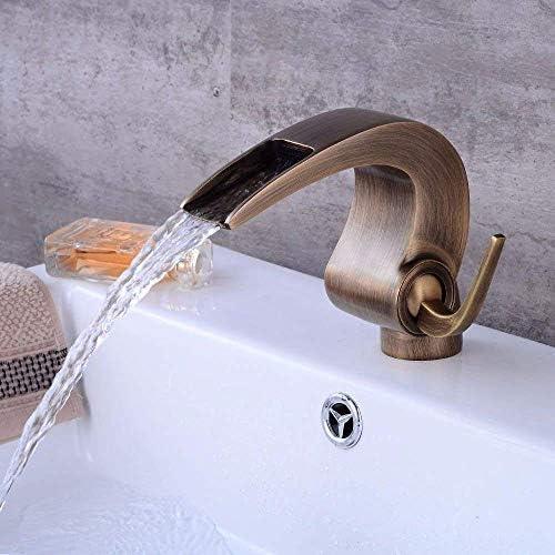 Gulakey バスルームのシンクの蛇口洗面器のミキサータップ滝温水と冷水セラミック単穴シングルレバー洗面シンクタップ浴室バーの蛇口