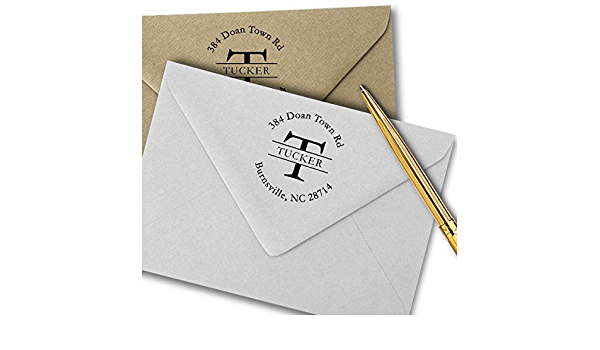 Traditional or Round Masculine Return Address Stamper Colonial Monogram Pre Inked Stamp New Home Gift Black Ink Self Inking Stamp