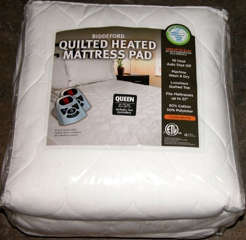 Biddeford Quilted Heated Mattress Pad Queen by BIDDEFORD