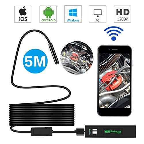 WiFi Wireless Endoscope – Bysameyee 1200P HD Inspection Camera USB Borescope Semi-rigid Flexible Snake Camera for iPhone IOS Android Smart Phones – Black 16.4 Feet (5m)