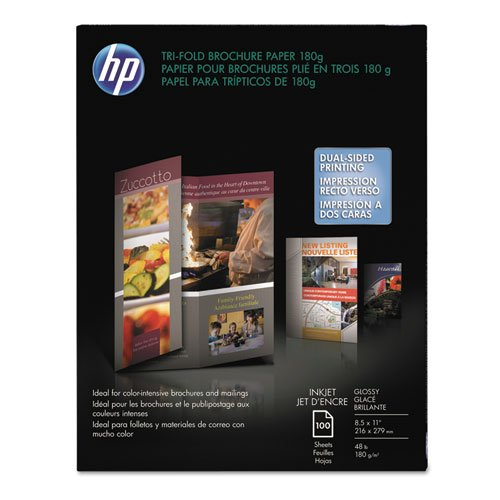 (Inkjet Tri-Fold Brochure Paper, 98 Brightness, 48lb, 8-1/2 x 11, White, 100/Pack, Sold as 100 Sheet)