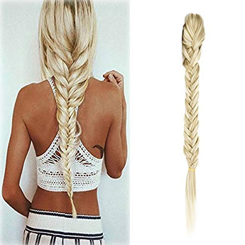 Braided Hair - Hair Long Straight Ponytail Clip in Braided Ponytail Fishtail Plaited Synthetic Hair Extensions Hairpiece