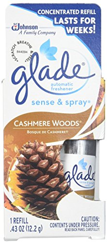 Glade Sense and Spray Concentrated Refill, Lasts For Weeks, Cashmere Woods, 0.43 Oz. Pack of 6 Refills.