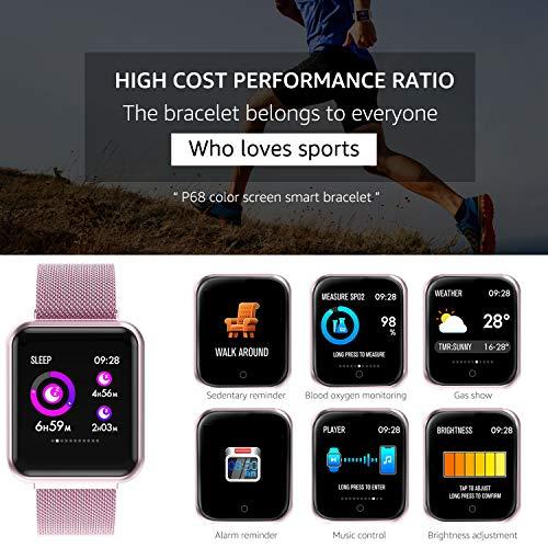 EarnCore Pulsera Inteligente a Prueba de Agua con Bluetooth - Rastreador de Ejercicios para Hombres y Mujeres para Android iOS...