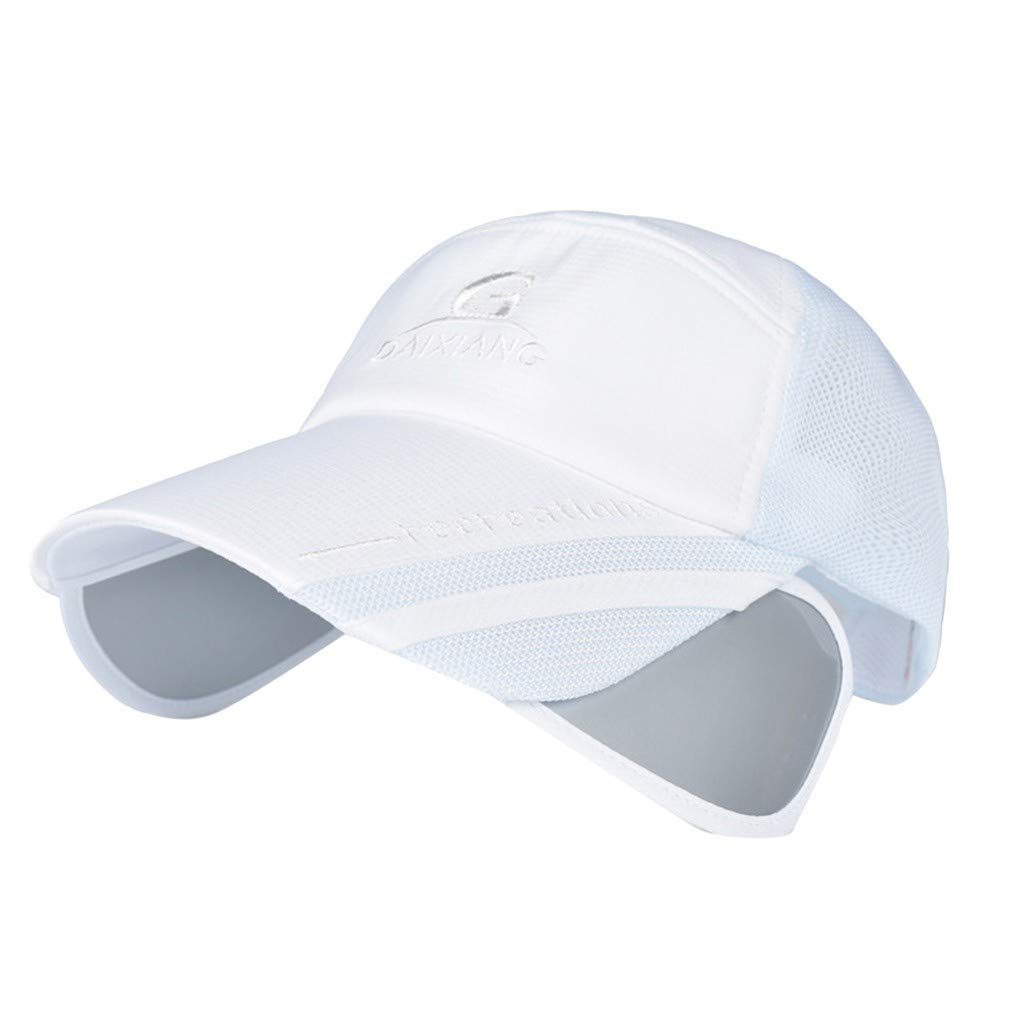 Pollyhb Women/Men Baseball Caps Summer Outdoor Adjustable Sun Protection Sun Hat White