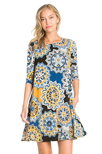 5Thread Women's 3/4 Sleeve Sleeve Round NK Print Side Pocket A-Line Tunic Dress (X-LARGE, BLK/BLU/MUS HY)