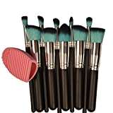 Naturebelle 10 Pieces Professional Makeup Brush Set Cosmetics Foundation Blending Blush Eyeliner Face Powder Makeup Brush Kit with Blue Hair+1 Piece Silicone Hand Cleaning Tool