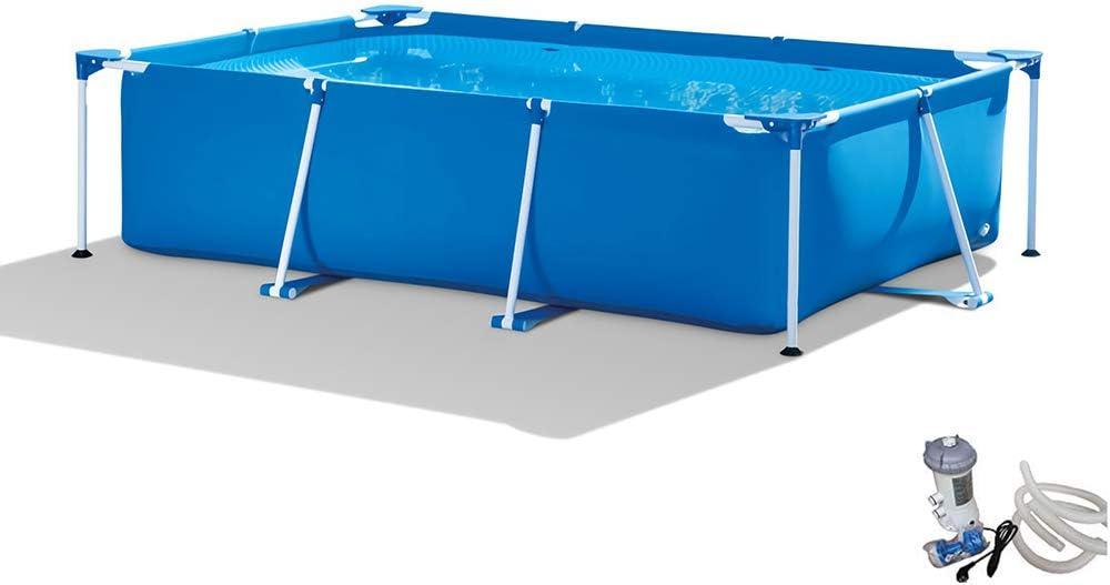 QQLK Frame Pool Piscina Desmontable Tubular 300 X 200 X 75 Cm, Piscina Sobresuelo(3834L), Malla Compuesta De 3 Capas, Montaje RáPido, Piscina para NiñOs Y Adultos - Azul
