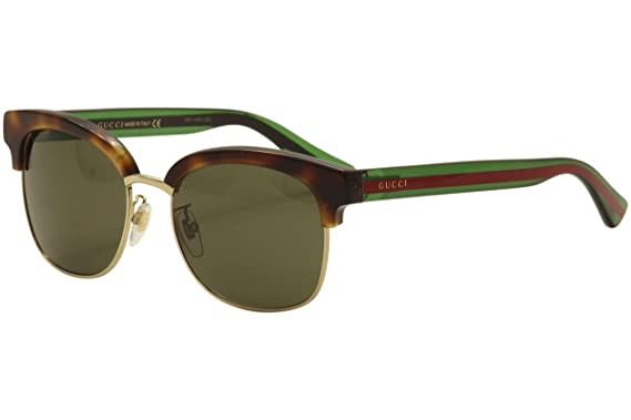 Amazon.com: Gucci Men\'s GG0056S GG/0056/S 003 Havana/Green/Red ...