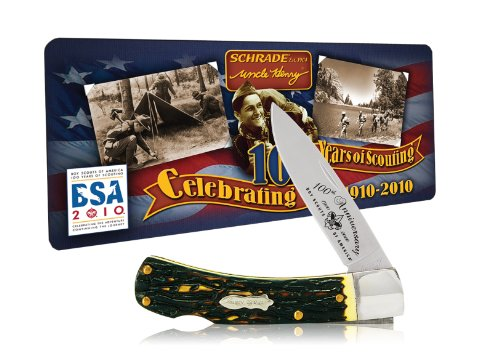 Uncle Henry Schrade 5UHBSAT Bruin Lockback Knife with Boy Scouts of America 100th Anniversary Collector's Tin