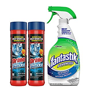 Drano Kitchen Granules Drain Clog Remover and Cleaner, Unclogs blockage from Grease or Cooking Oil, 17.6 oz