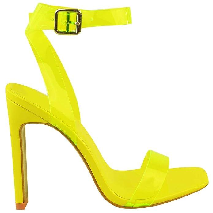 Sandalias baratas de tacón transparente amarillo neón