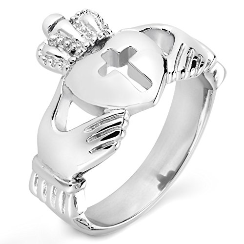 ELYA Stainless Steel Claddagh Cut-out Cross Ring - Size 8 ()