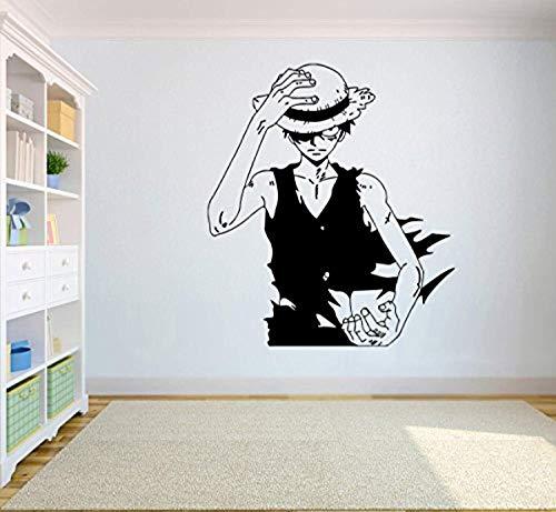 One Piece Wall Vinyl Decal Top Anime Wall Art Monkey D. Luffy Vinyl Sticker Decor for Home Bedroom Design SC7(22x25)