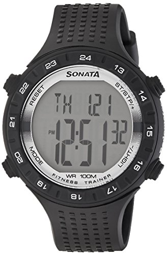 Sonata Digital Grey Dial Men's Watch - 77040PP05