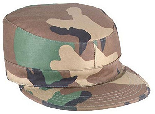 Mens Military Hat - Army Ranger Fatigue Cap, Woodland Camo, 7.75 by Rothco