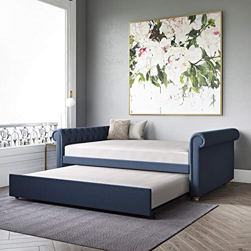 DHP Sophia Upholstered Queen Full Trundle, Navy Blue Linen Daybed,