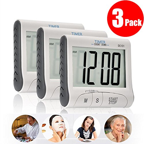3 Pack Senbowe Digital Kitchen Timer/ Cooking Timer with Large Display Screen, Loud Sounding Alarm, Strong Magnetic Backing, Retractable Stand