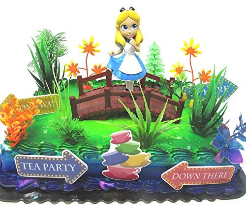 ALICE IN WONDERLAND 16 Piece Birthday Cake Topper Set Featuring Alice and Decorative Themed Accessories