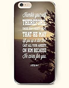 iPhone Case,OOFIT iPhone 6 Plus (5.5) Hard Case **NEW** Case with the Design of humble yourself therefore,under god's mighty hand that he may lift you up in due time cast all your anxiety on him because he cares for you 1 peter 5:6-7 - Case for Apple iPhone iPhone 6 (5.5) (2014) Verizon, AT&T Sprint, T-mobileKimberly Kurzendoerfer