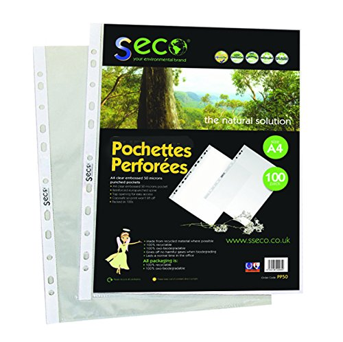 (Seco Eco Punched Pockets Pack 100. 50 Micron. Quality Product. These Products Will biodegrade in 18 Months Once disposed)