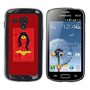 Caucho caso de Shell duro de la cubierta de accesorios de protección BY RAYDREAMMM - Samsung Galaxy S Duos S7562 - Woman Red Gold Yellow Kids