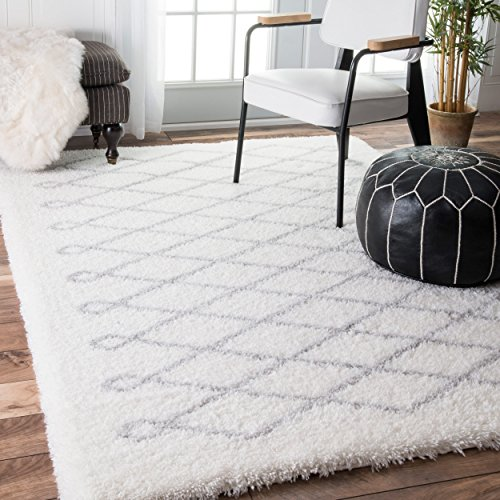 Soft & Plush Geometric Diamond Loop Kids Grey Shag Area Rugs, 4 Feet x 6 Feet (4' x 6')