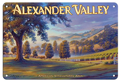 Pacifica Island Art 8in x 12in Tin Sign - Alexander Valley Wineries - Robert Young Estate Winery by Kerne Erickson