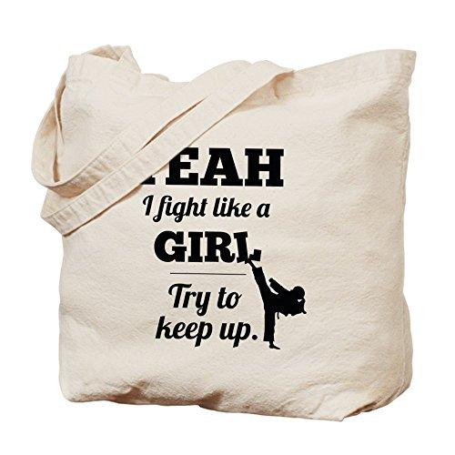 CafePress–Lucha como una niña–negro–gamuza de bolsa de lona bolsa, bolsa de la compra
