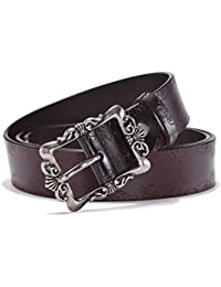 Genuine Leather Belts For Women Cowhide Embossing Design Carving Buckle Plus Size XXL