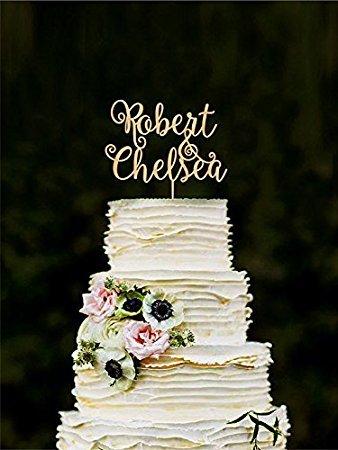Topper per Torta nuziale personalizzata Con Topper per Torta, decorazioni per Torta nuziale, sposa e sposo, Nome Topper per Torte, Initial Cake Topper