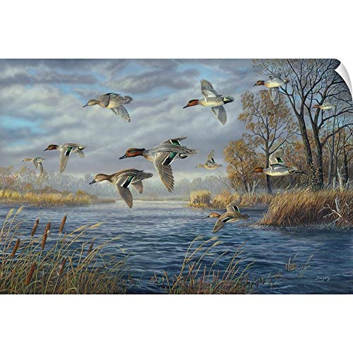 CANVAS ON DEMAND Terry Doughty Wall Peel Wall Art Print Entitled Sanctuary Bay - Green Winged Teal 18