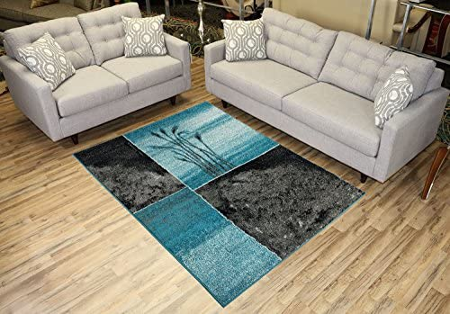 Designer Collection Wheat Nature Design Modern Contemporary Area Rug Rugs 3 Options Turquoise Blue, 4 11 x6 11
