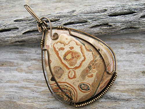Picture Jasper Pendant, Antique Brass Wire Wrapped Teardrop Face inclusion Cabochon Pendant Necklace, READY TO SHIP, FREE USA SHIPPING