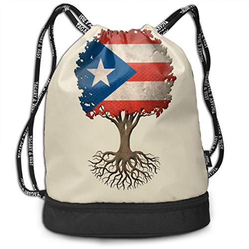 Polyester Drawstring Backpack Theft Proof Waterproof Large Size Shoulder Bags Large Capacity For Basketball, Volleyball, Baseball, Sports Gear (Puerto Rico Flag Tree)