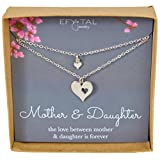 Mother Daughter Cutout Heart Necklace Set For Two, 2 Sterling Silver Necklaces Mother's Day Gift
