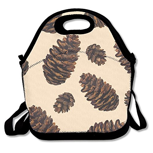(Pine Nuts Pattern Portable Carry Insulated Lunch Bento Bag Large Reusable Lunch Tote)