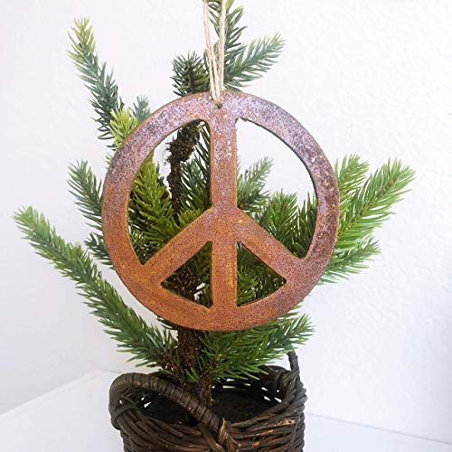 Single or Set of 3 Peace Symbol Ornament in Rusty Metal -